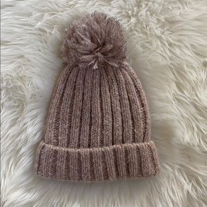 Michael Stars pink shearling beanie from revolve